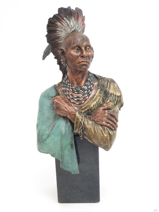 Christopher Pardell Enduring - Chief Black Hawk Mixed Media Sculpture