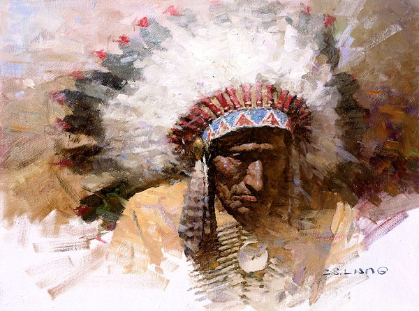 Z.S.  Liang Old Chiefs Story SMALLWORK EDITION ON Canvas