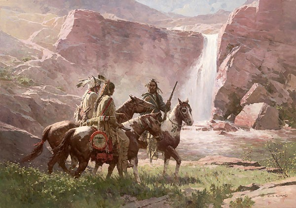 Z.S.  Liang Red Rock Crossing Northwest Montana 1850 Limited Edition Giclee On Canvas