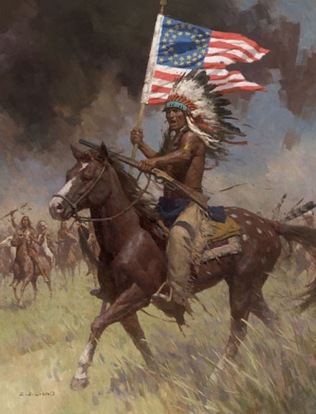 Z.S.  Liang Lakota Warriors Little Big Horn June 25 1876 Canvas
