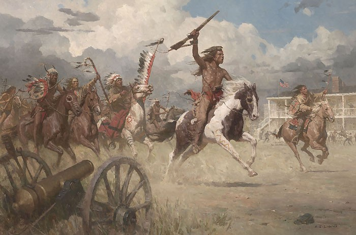Z.S.  Liang The Charge of Crazy Horse on Fort Laramie 1864 MASTERWORK EDITION ON Canvas