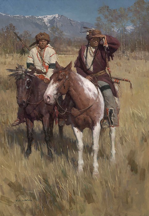 Z.S.  Liang The Buffalo Scouts Giclee On Canvas