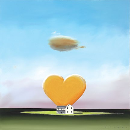 Robert Deyber Home Is Where The Heart Is hand-crafted stone lithograph