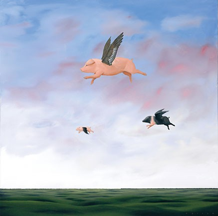 Robert Deyber When Pigs Fly hand-crafted stone lithograph