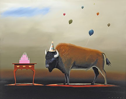 Robert Deyber The Party Animal Buffalo hand-crafted stone lithograph