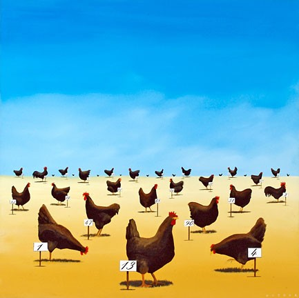 Robert Deyber The Pecking Order hand-crafted stone lithograph