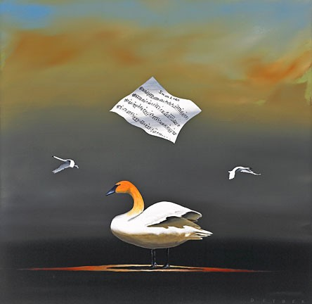 Robert DeyberThe Swan Songhand-crafted stone lithograph