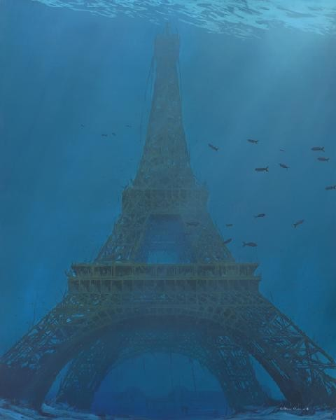 William Silvers Visiting Eiffel Giclee On Canvas