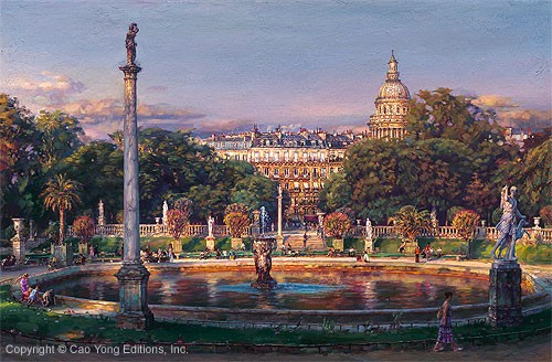 Cao Yong The Luxembourg Garden II La Fountaine Giclee On Canvas The Paris Series