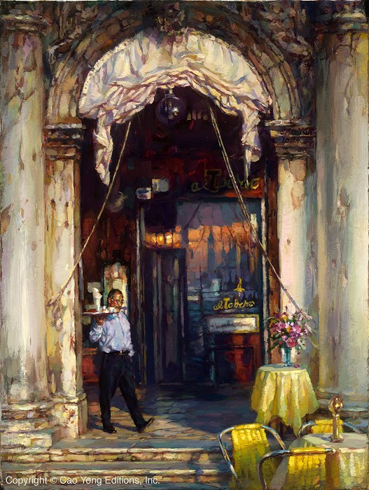 Cao Yong Le Bistro Artist Proof Giclee On Canvas Artist Proof The Venice Series
