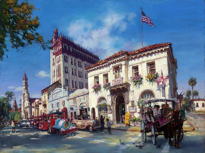 Cao Yong Life In St. Augustine, Fl Artist Proof Giclee On Canvas Artist Proof The Grand American Series