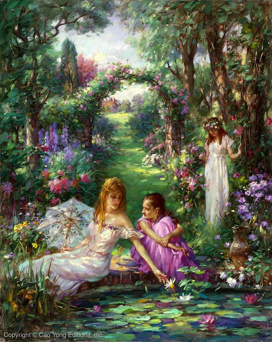 Cao Yong Lily Pond Artist Proof Giclee On Canvas Artist Proof The Romantic Garden Series