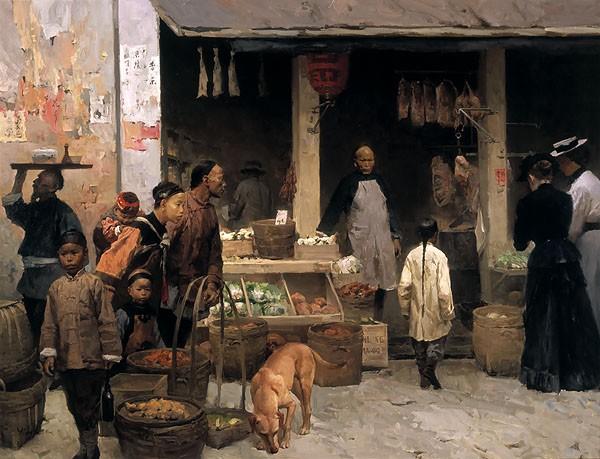 Mian SituChinatown Market San Francisco 1878Canvas