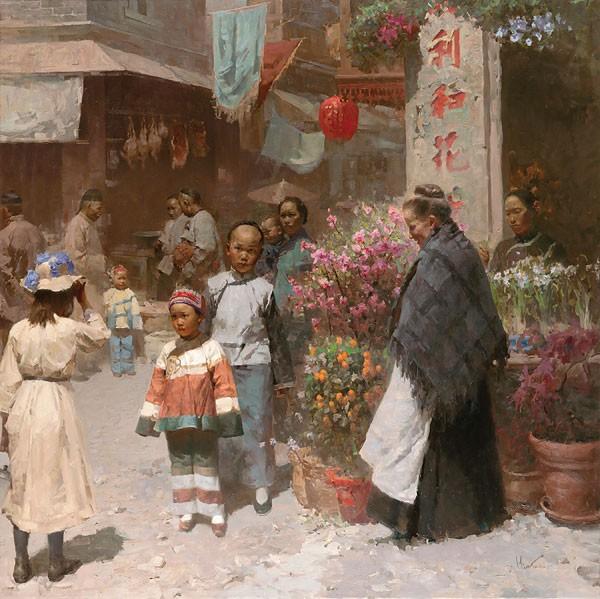 Mian SituChinese Flower Shop San Francisco 1904Canvas
