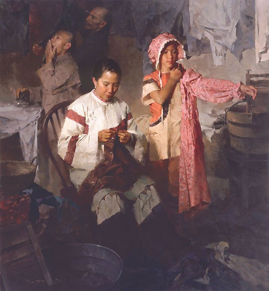 Mian Situ The Calico Dress Family Laundry 1906 Canvas