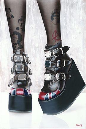 StickmanAnarch - Sex Pistols Tribute - BootsGiclee On Canvas