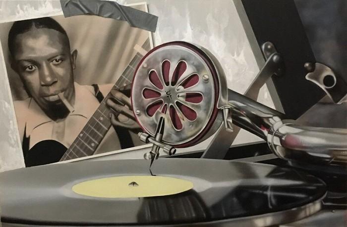 StickmanStandin' at the Crossroads - Robert JohnsonGiclee On Canvas