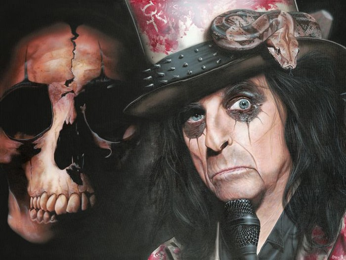 Stickman In My Eye Blood Drops Look Like Roses - Alice Cooper Giclee On Canvas