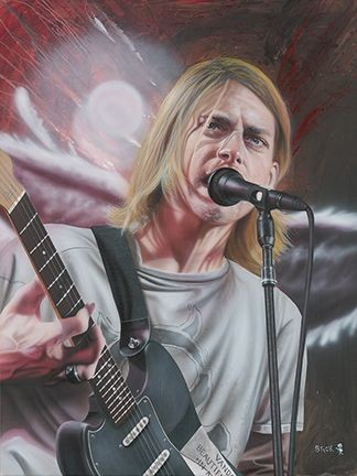 Stickman Entertain Us - Kurt Cobain -Giclee On Canvas Artist Proof Hand Embellished