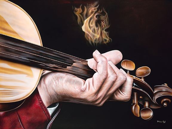 Stickman Fiddle of Gold Against Your Soul -Giclee On Canvas Artist Proof Hand Embellished