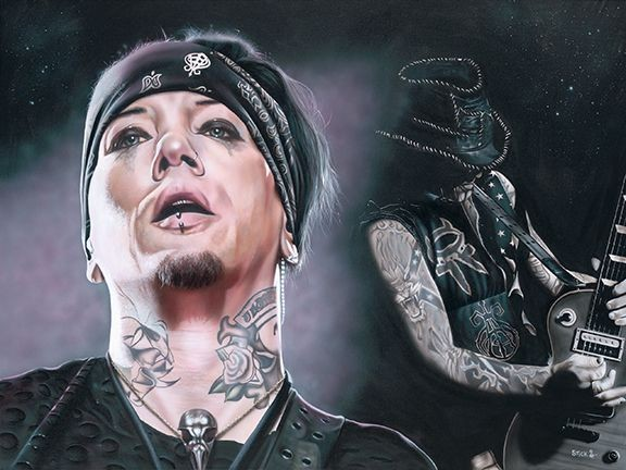 Stickman Do You Want To See Heaven Tonight - DJ Ashba Giclee On Canvas
