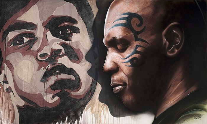 Stickman We Were Kings - Mike Tyson/ Muhammad Ali Giclee On Canvas