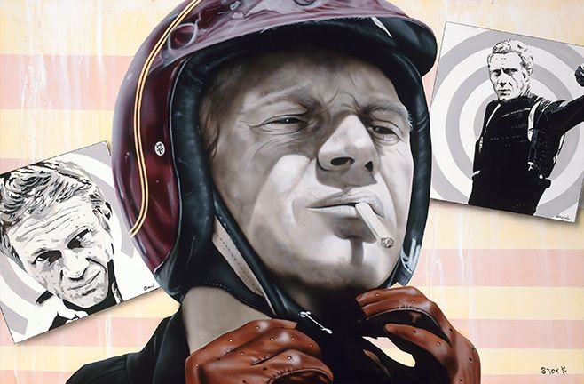 StickmanAll I Need is a Fast Machine - Steve McQueen-Giclee On Canvas Artist Proof Hand Embellished