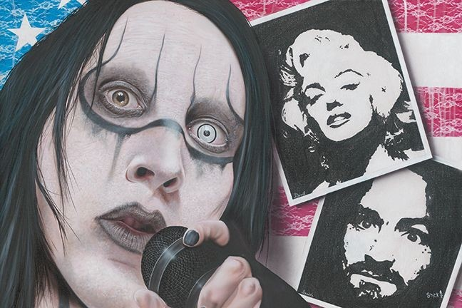 Stickman I Wasn't Born with Enough Middle Fingers - Marilyn Manson -Giclee On Canvas Artist Proof Hand Embellished