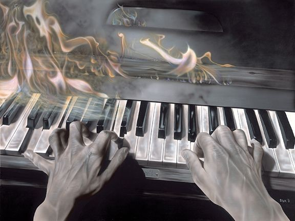 Stickman I'm Real Nervous But It Sure Is Fun - Flaming Piano -Giclee On Canvas Artist Proof Hand Embellished