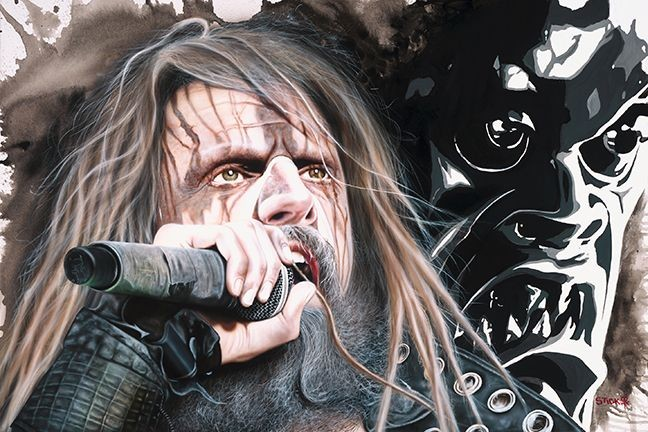 Stickman Shriek the Lips Across Ragged Tongue - Rob Zombie -Giclee On Canvas Artist Proof Hand Embellished