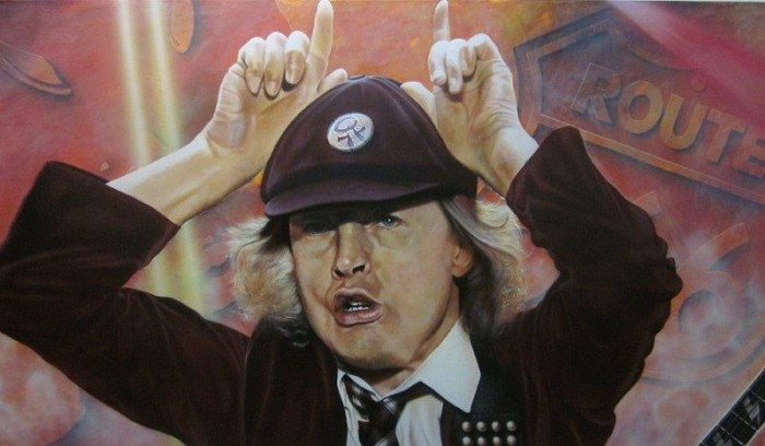 StickmanWe Salute You - Angus Young-Giclee On Canvas Artist Proof Hand Embellished