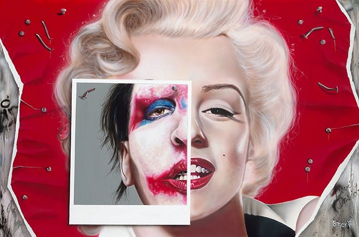 Stickman Something Beautiful, Something Free - Marilyn Monroe/Marilyn Manson -Giclee On Canvas Artist Proof Hand Embellished