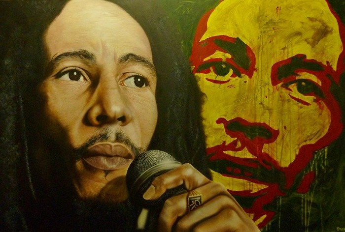 Stickman These Songs of Freedom - Bob Marley Giclee On Canvas