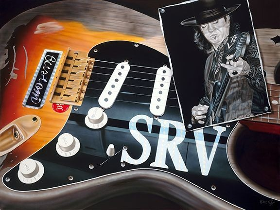 StickmanShe's My Sweet Little Thang - Stevie Ray Vaughn-Giclee On Canvas Artist Proof Hand Embellished