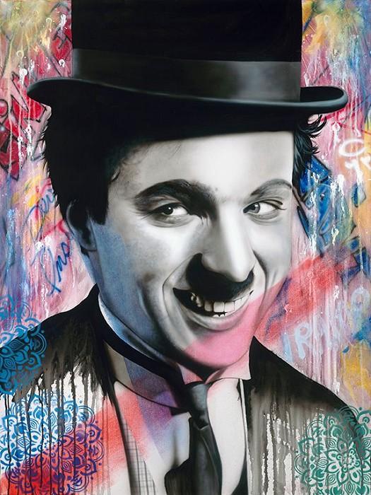 StickmanThe Tramp - Charlie Chaplin-Giclee On Canvas Artist Proof Hand Embellished