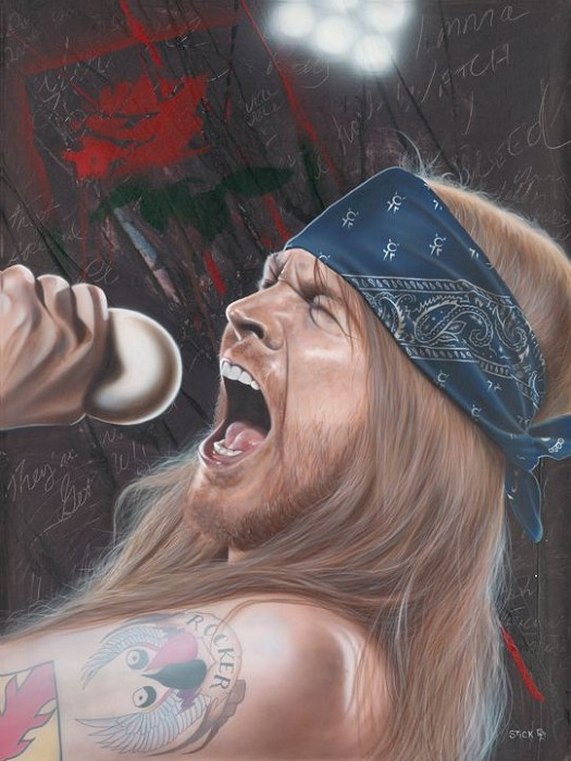 Stickman I Wanna Watch You Bleed - Axl Rose Giclee On Canvas