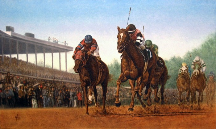 Mike Kupka Affirmed vs Alydar Original Oil on Canvas