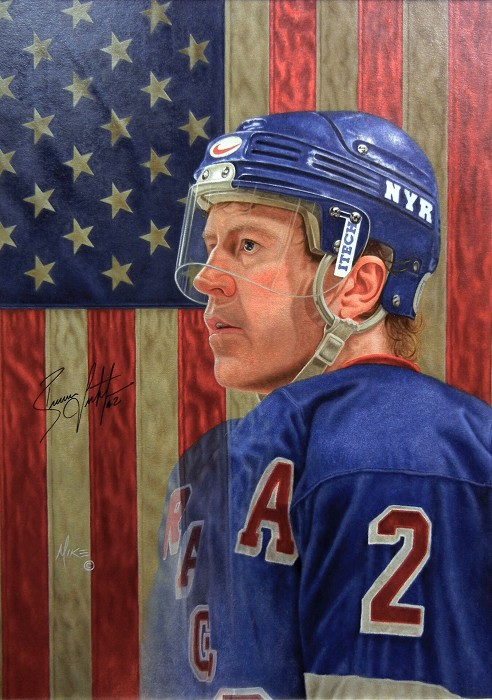 Mike Kupka Brian Leetch - Oil on Illustration Board Signed by Leetch