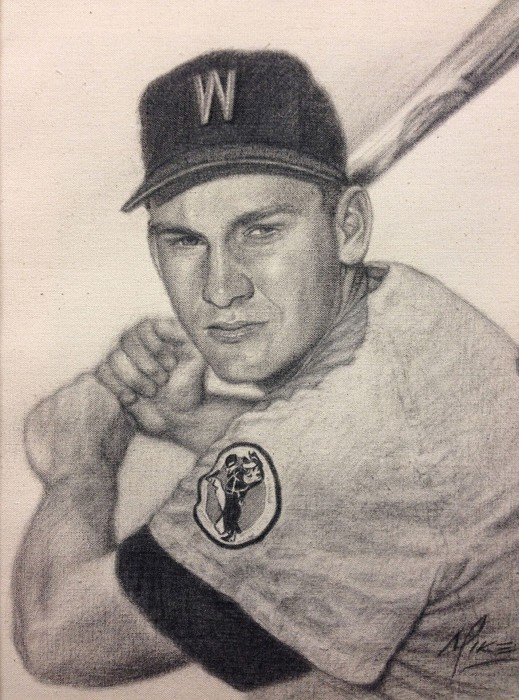 Mike Kupka Harmon Killebrew - Graphite on Raw Canvas