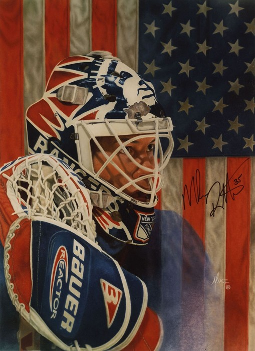 Mike Kupka Mike Richter - Oil on Illustration Board Signed by Richter