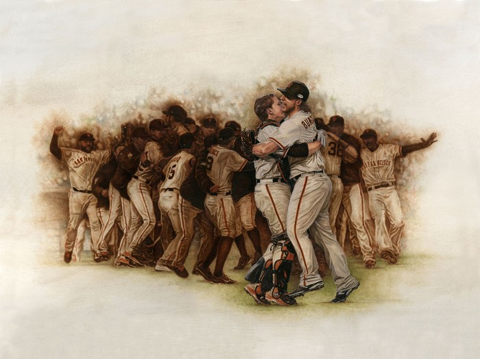 Mike KupkaSan Fransico Giants World Champions CelebrationOriginal Oil on Canvas