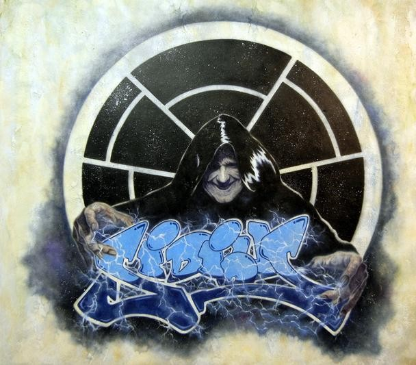 Mike Kupka Sidious Grafitti Oil on Illustration Board