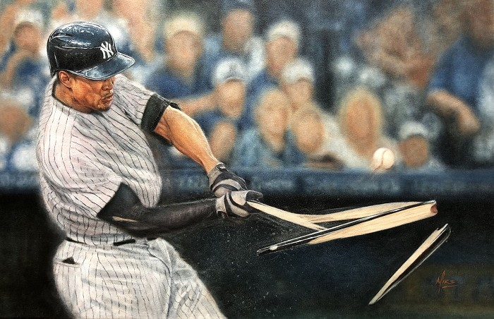 Mike Kupka Giancarlo Stanton (Marlins)  Original Oil on Canvas
