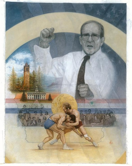 Mike Kupka The Art of the Fight Signed by Artist & Coach Gable (Wrestling) Giclee On Canvas
