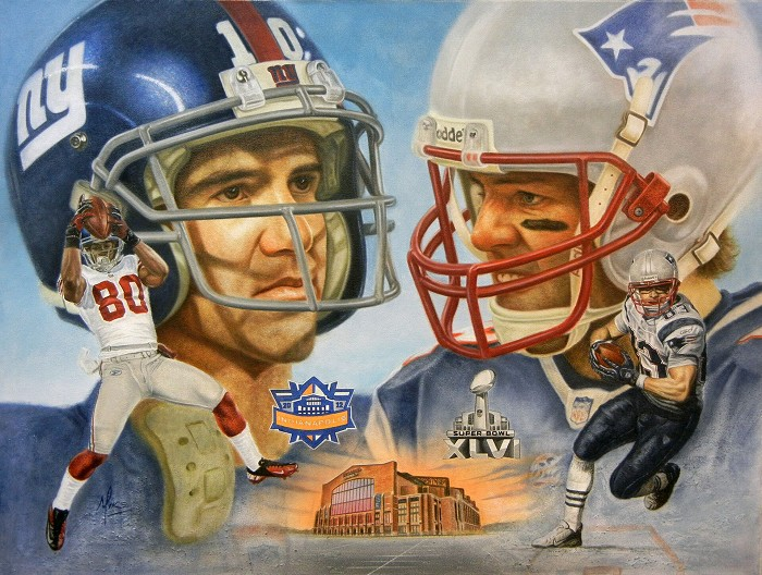 Mike Kupka Tom Brady & Manning Original Oil on Canvas