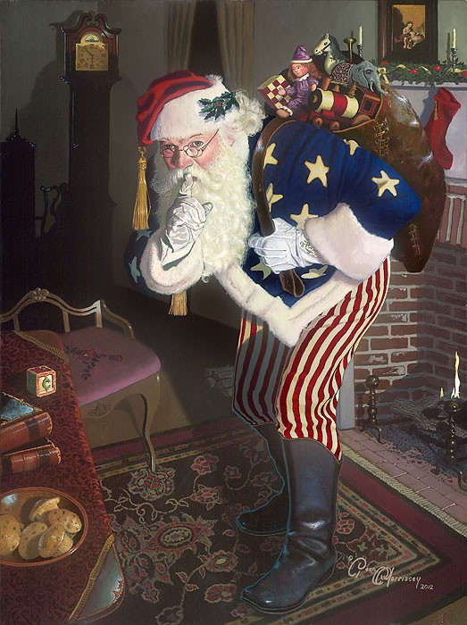 Dean Morrisey The Promise of Peace and Tranquility - Father Christmas During the Civil War Canvas