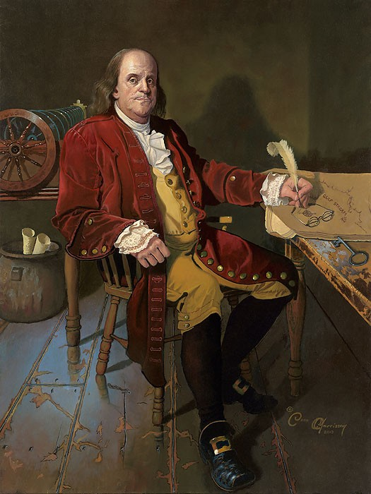 Dean Morrisey Ben Franklin Patriot and Renaissance Man MASTERWORK EDITION ON Canvas