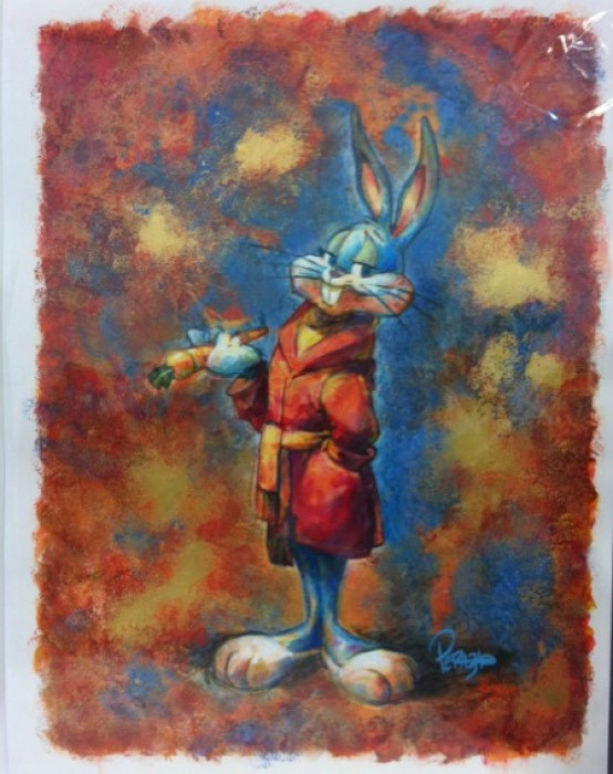 Mike PerazaBourgeoisie BunnyWater Color On Gouache Paper