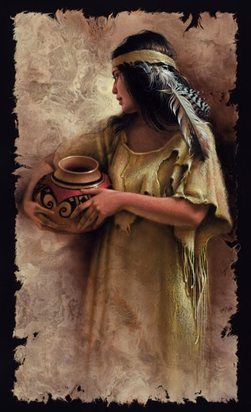 Lee Bogle Maiden With Clay Pot Artist Proof Hand Enhanced Giclee On Canvas