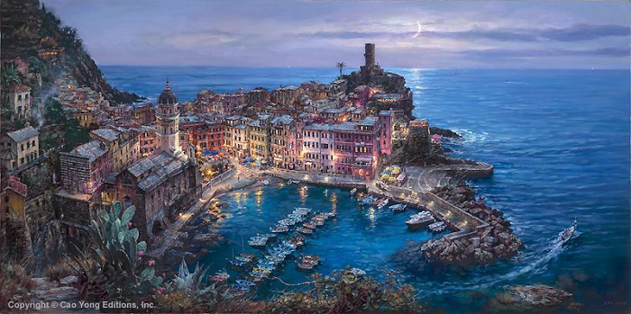 Cao Yong Moonlight In Vernazza Giclee On Canvas The Venice Series